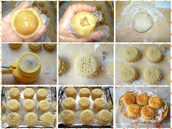 如果月饼模型不同,可以先用保鲜膜包着月饼馅