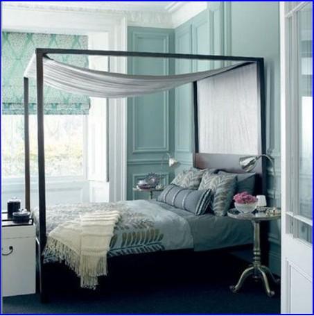 蓝灰色卧室 怀旧情结