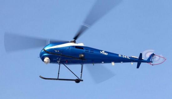 国内最大无人直升机v750在山东潍坊北部沿海区域起飞
